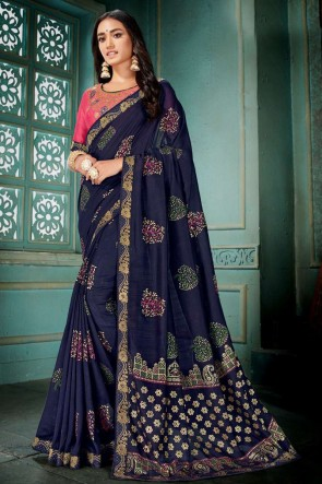 Navy Blue Embroidred And Printed Silk Saree With Embroidred Blouse