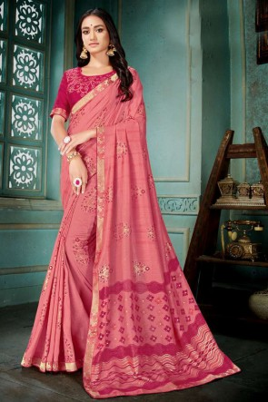 Pink Embroidred And Printed Silk Saree With Embroidred Blouse