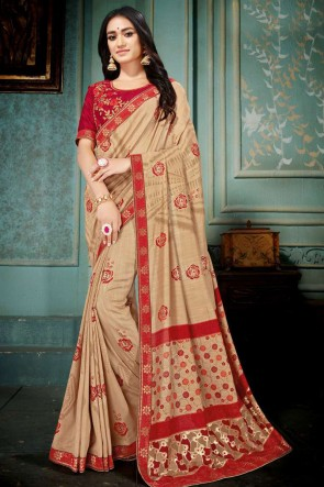 Khaki Embroidred And Printed Silk Saree With Embroidred Blouse