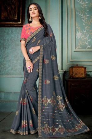 Grey Embroidred And Printed Silk Saree With Embroidred Blouse