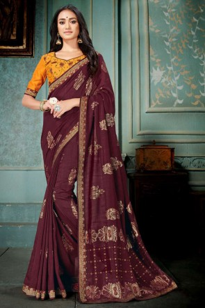 Maroon Embroidred And Printed Silk Saree With Embroidred Blouse