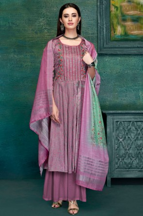 Solid Wine Embroidred And Thread Work Satin Plazzo Suit With Pure Dupatta