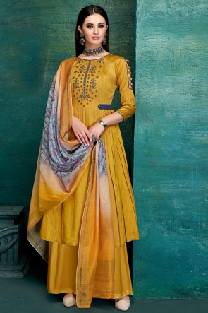 Graceful Embroidred And Thread Work Mustard Satin Plazzo Suit With Pure Dupatta