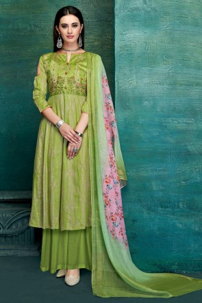 Stylish Satin Light Green Embroidred And Thread Work Plazzo Suit With Pure Dupatta