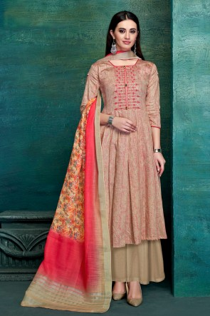 Party Wear Multi Color Embroidred And Thread Work Satin Plazzo Suit With Pure Dupatta