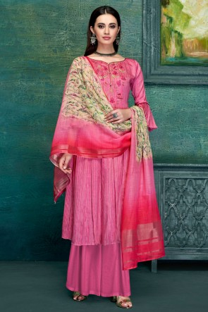 Splendid Pink Satin Embroidred And Thread Work Plazzo Suit With Pure Dupatta