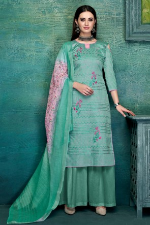 Classy Sea Green Embroidred And Thread Work Satin Plazzo Suit With Pure Dupatta