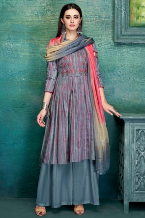 Excellent Grey Embroidred And Thread Work Satin Plazzo Suit With Pure Dupatta