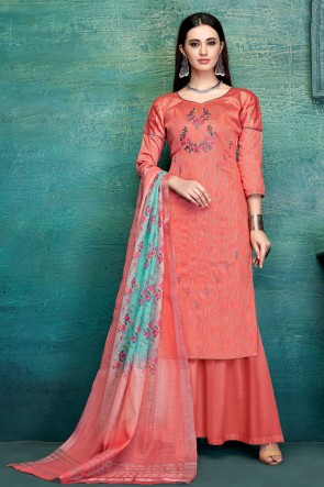 Appealing Peach Embroidred And Thread Work Satin Plazzo Suit With Pure Dupatta