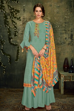 Appealing Sea Green Embroidred Wool Pashmina Plazzo Suit And Dupatta