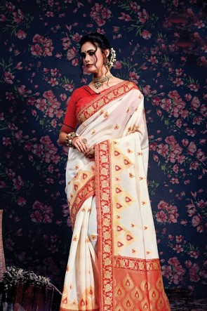 Heavy Designer White Jacquard Work And Weaving Work Silk Saree With Border Work Blouse