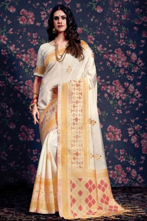 Desirable Weaving Work And Jacquard Work White Silk Saree With Border Work Blouse
