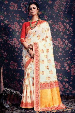 Ultimate White Weaving Work And Jacquard Work Silk Saree With Border Work Blouse