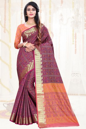 Appealing Wine Weaving Work Patola Silk Saree And Blouse