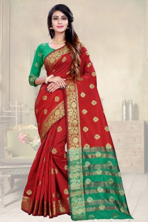 Red Weaving Work Designer Saree And Blouse