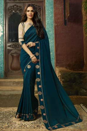 Graceful Teal Embroidred Chanderi Saree With Printed Blouse