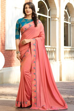Fascinating Peach Embroidred Chanderi Saree And Blouse