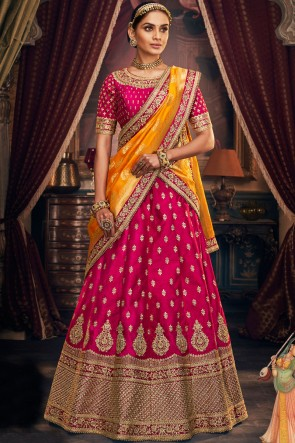 Heavy Designer Magenta Embroidery And Stone Work Lehenga Choli With Viscose Jacquard Dupatta