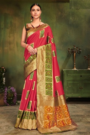 Weaving Work And Jacquard Work Designer Rust Patola Silk Fabric Saree And Blouse