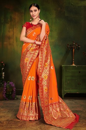 Patola Silk Fabric Weaving Work And Jacquard Work Orange Solid Saree And Blouse
