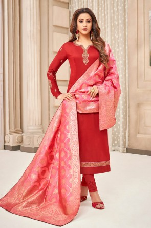Lovely Embroidered And Stone Work Red Silk And Cotton Casual Salwar Kameez With Jacquard Dupatta