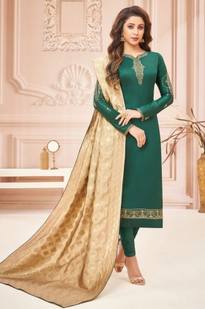 Gorgeous Silk And Cotton Mehendi Green Embroidered And Stone Work Casual Salwar Suit With Jacquard Dupatta