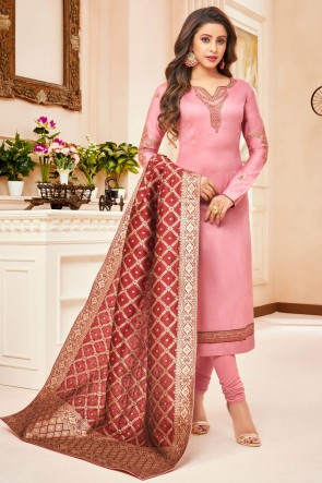 Pink Embroidered And Stone Work Silk And Cotton Casual Salwar Suit With Jacquard Dupatta