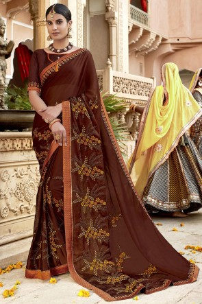 Charming Brown Lace Work And Embroidered Designer Rangoli Silk Fabric Saree And Blouse