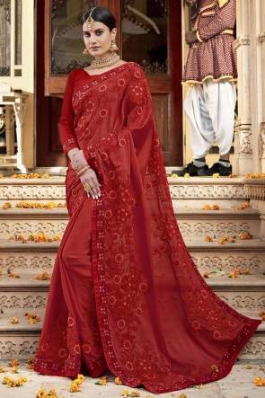 Fascinating Rangoli Silk Fabric Red Embroidery And Lace Work Designer Saree And Blouse
