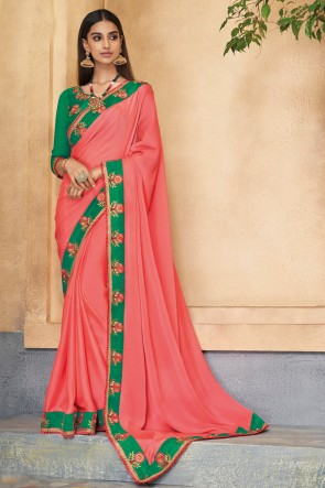 Delightful Peach Embroidered Designer Silk Saree With Banglori Silk Blouse