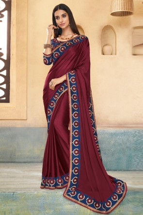 Elegant Embroidered Brown Silk Designer Saree With Banglori Silk Blouse