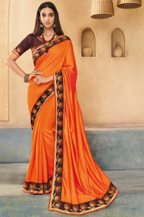 Fascinating Orange JEmbroidered Silk Saree With Banglori Silk Blouse