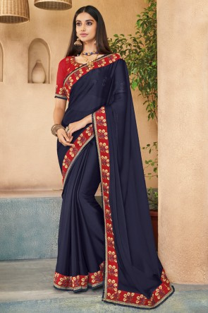Gorgeous Navy Blue Embroidered Designer Silk Saree With Banglori Silk Blouse