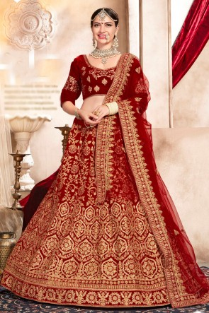 Marvelous Velvet Red Hand work And Embroidred Lehenga Choli With Net Dupatta