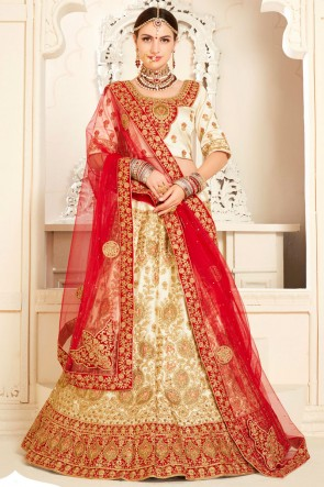 Graceful Off White Velvet Stone work And Embroidred Lehenga Choli With Net Dupatta