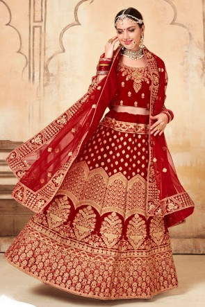 Red Hand work And Embroidred Velvet Lehenga Choli Lehenga Choli With Net Dupatta