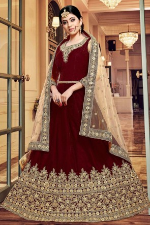 Elegant Maroon Embroidered Designer Velvet Anarkali Suit With Net Dupatta