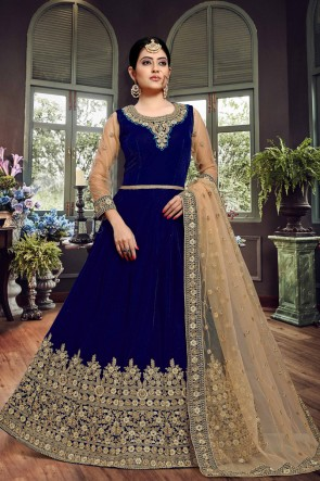 Lovely Embroidered Designer Blue Velvet Anarkali Suit With Net Dupatta