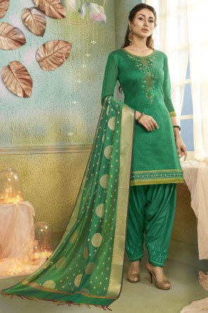 Rama Embroidery Work Chanderi Fabric Patiala Suit And Cotton Silk Bottom