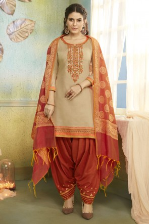 Party Wear Chanderi Fabric Beige Embroidery Work Patiala Suit With Banarasi Silk Dupatta