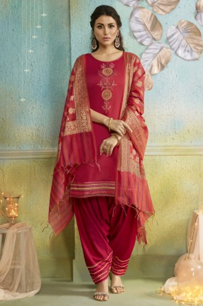 Cotton Silk Bottom Red Chanderi Fabric Embroidered Patiala Suit With Banarasi Silk Dupatta