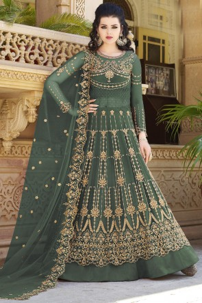 Stone Work And Beads Work Green Net Fabric Abaya Style Anarkali Suit And Dupatta