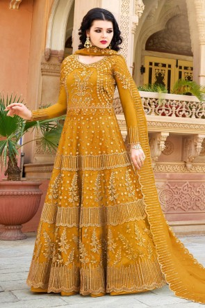 Embroidered Yellow Net Anarkli Suit And Dupatta