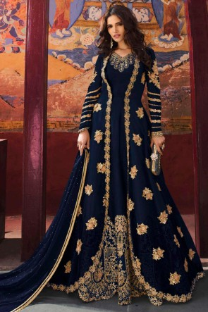 Sequins Work And Zari Work Blue Silk Net Fabric Abaya Style Anarkali Suit And Dupatta