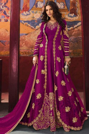Zari Work And Embroidered Magenta Silk Net Fabric Abaya Style Anarkali Suit And Dupatta