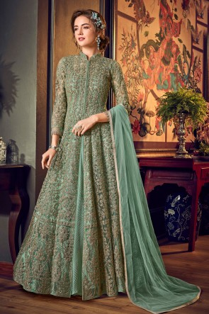Designer Green Embroidered And Sequins Work Net And Satin Anarkali Suit With Chiffon Dupatta