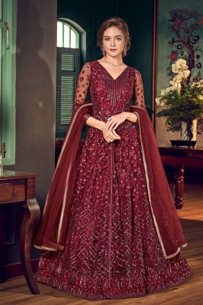 Charming Net And Satin Maroon Embroidered And Sequins Work Anarkali Suit With Chiffon Dupatta