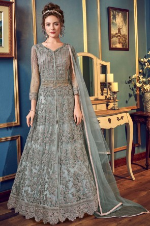 Embroidered And Sequins Work Grey Net And Satin Anarkali Suit With Chiffon Dupatta