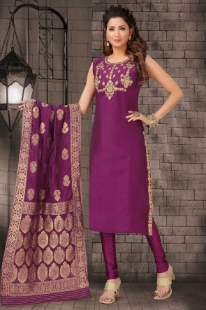Zari Work Violet Bhagalpuri Silk Fabric Casual Salwar Kameez And Lycra Bottom