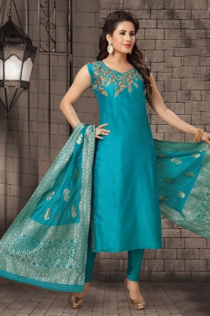 Bhagalpuri Silk Fabric Zari Work Turquoise Casual Salwar Kameez With Brocade Dupatta